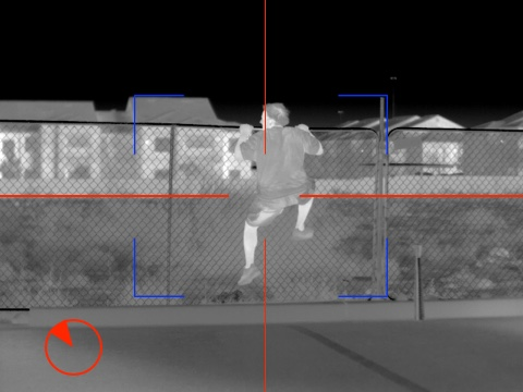 Human climbing fence in thermal image from ptz