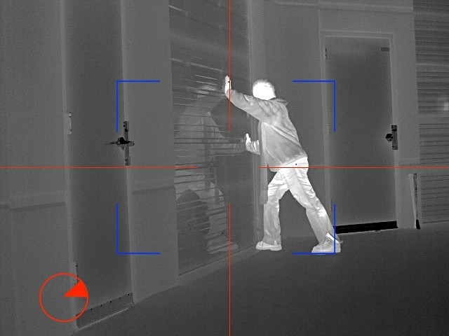 Shows a sample thermal image from patrol ptz of intruder.